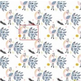 Coton OEKO TEX paon rose et gris fond blanc en 160cm