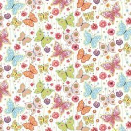 Coton OEKO TEX papillon pastel fond blanc en 160cm