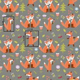 Coton OEKO TEX renards et sapin fond gris à pois en 160cm