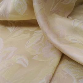 Au mètre polycoton jacquard beige et vert léger en 145cm n°10389