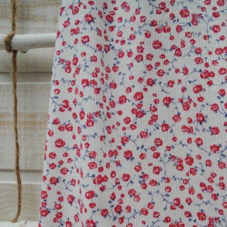Au mètre jersey coton côtelé blanc à fleurette rouge et grise en 145cm n°10394