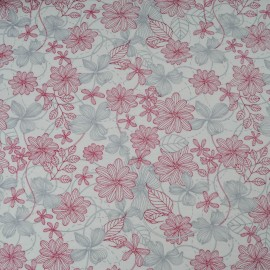 Coupon jersey coton fond blanc, fleur grise et bordeaux 1m20 en 160cm n°10396