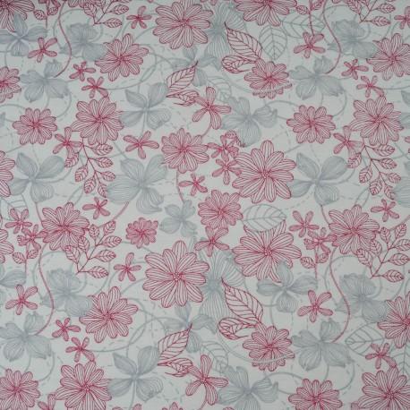 Au mètre jersey coton fond blanc, fleur grise et bordeaux en 160cm n°10396