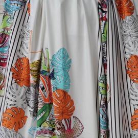 Panneau Jersey Viscose blanc cassé motif feuille tropicale colorée 1m60 en 155cm