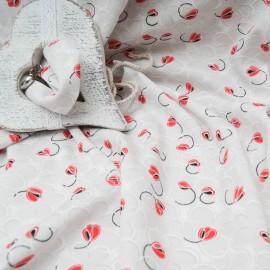 Au mètre jersey coton fond blanc, fleur grise et coquelicot en 160cm n°10401