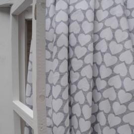 Au mètre jersey coton fond gris coeur blanc en 175cm n°10402