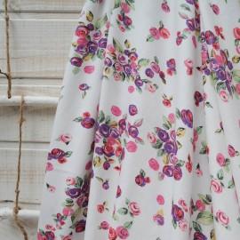 Au mètre jersey coton fond blanc motif pivoine rose et mauve en 155cm n°10399