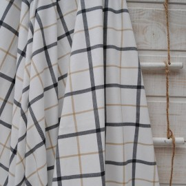 Coupon jersey coton fond blanc à carreaux 1m20 en 160cm n°10404