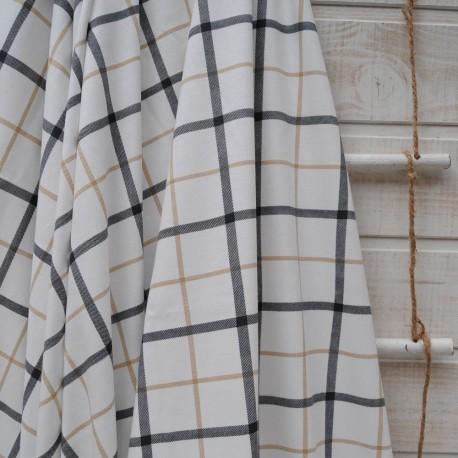 Au mètre jersey coton fond blanc à carreaux en 160cm n°10404