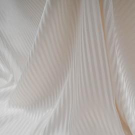 au mètre Satin de polyester écru effet de rayures en 150 cm n°10411