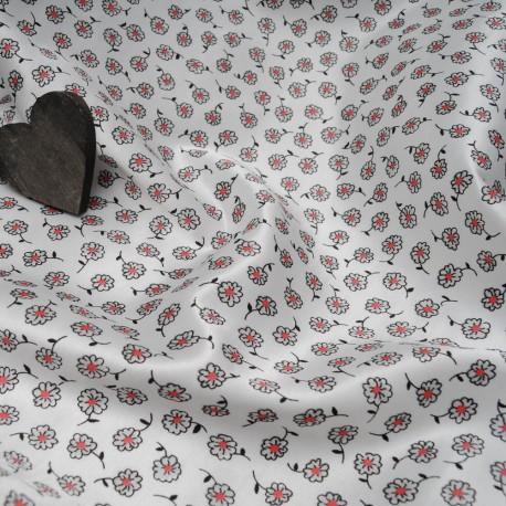 Au mètre satin polyester, (doublé flanelle) blanc à fleur rouge et noire en 150cm n°10413