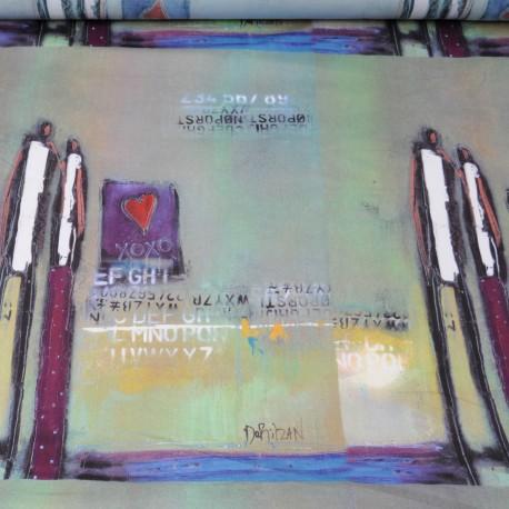 """Fine Viscose"""" Bonhommes"""" par panneau de 60cm en 140cm n°527"""
