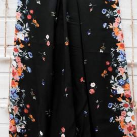 Au mètre voile Coton noir Haut de Gamme 2 bases fleuries moutarde rose en 140cm n°10414