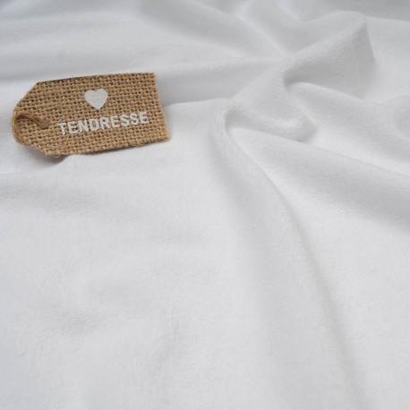 Au mètre éponge fine rase blanche Polyester et Coton en 160cm n°10408