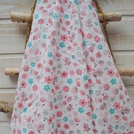 Au mètre Double Gaze Coton OEKO TEX imprimée fleur menthe et rose en 160cm n° 10416