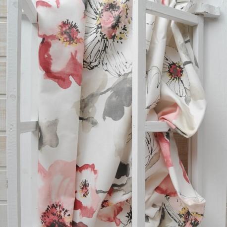 Au mètre toile coton épais fond blanc imprimé fleurs de pavot en 140cm n°10433