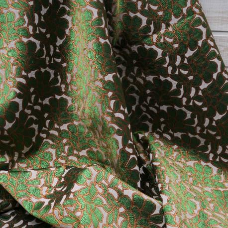 Au mètre Jacquard vert et oranger Haut de gamme en 145cm n°10423