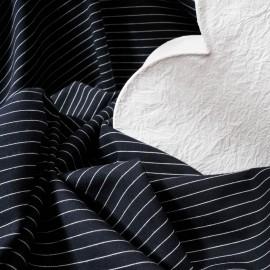 Au mètre jersey coton lourd Haut de gamme marine fines rayures blanches en 145cm