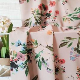 Au mètre crêpe polyester vieux rose à fleurs en 145cm n°10448