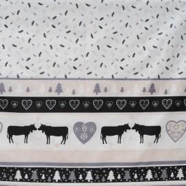 Au mètre toile coton cretonne fond blanc bandeau noir pour Noël ou chalet en 160cm n°10449