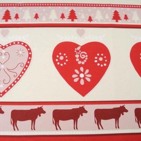 Au mètre toile coton cretonne fond écru bandeau rosé pour Noël ou chalet en 160cm n°10450