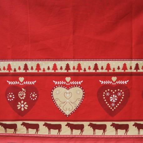 Au mètre toile coton cretonne fond rouge bandeau beige pour Noël ou chalet en 160cm n°10451