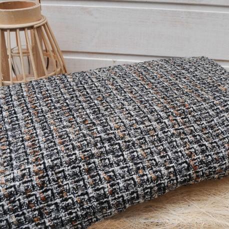 Au mètre lainage tweed marron Haute Couture en 155cm n°10455