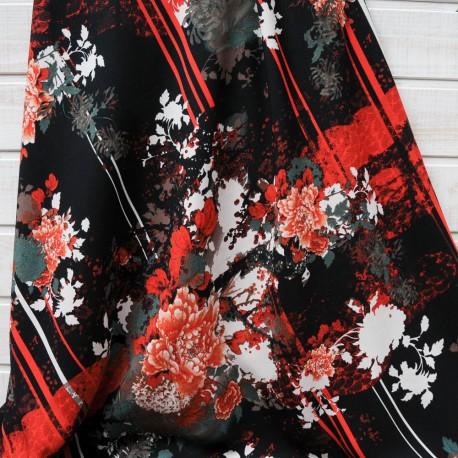 Coupon crêpe polyester rouge et noir épais 2m en 150cm