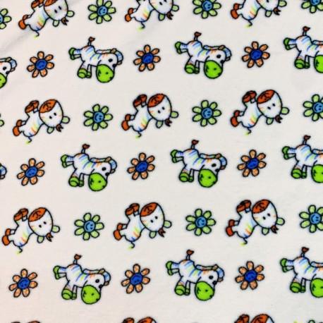 polaire fantaisie doudou gris mouton blanc fond rose en 160cm n° 10462
