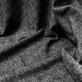 Coupon lainage jacquard chevrons gris foncé et blanc 1m en 135cm n°10459