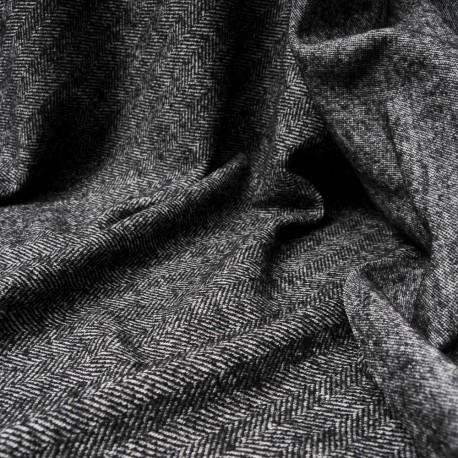 Au mètre lainage jacquard chevrons gris foncé et blanc en 135cm n°10459