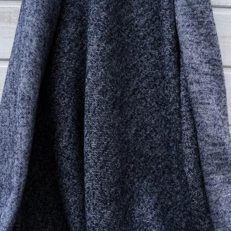 Au mètre lainage jacquard chiné bleu jean et blanc en 135cm n°10460