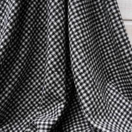 Au mètre lainage jacquard pied de poule noir et gris en 135cm n°10461