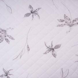 Au mètre matelassé rose imprimé fleurs en 155cm n°10442