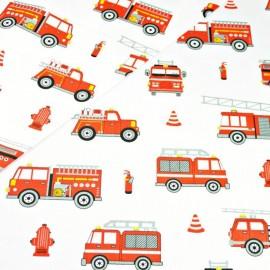 Coton OEKO TEX véhicule pompier fond blanc en 160cm