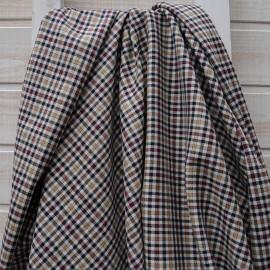 Au mètre Polyester et laine pied poule beige bordeaux stretch en 140cm n°10467