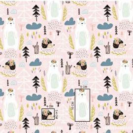 Mini Coupon Coton OEKOTEX ours blanc et hérisson fond rose pâle 50cm x 80cm
