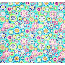 Mini Coupon Coton OEKOTEX cercle turquoise multico 50 x 80cm