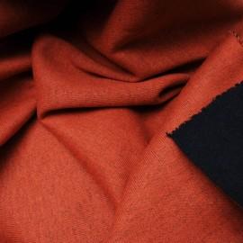 Au mètre maille tricot épais réversible rouille bleu marine en 160cm n°10473