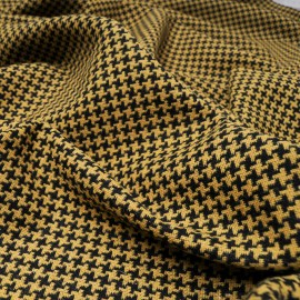 Au mètre lainage Jacquard Pied de coq noir et moutarde en 150cm n°10474