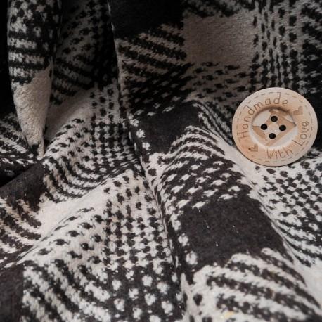 Au mètre lainage gros carreaux beige et marron en 150cm n°10481