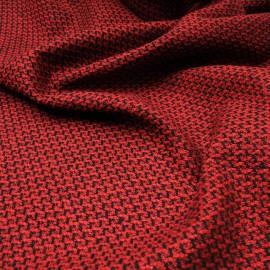 Au mètre lainage Jacquard fond bordeaux motifs noirs en 150cm n°10477