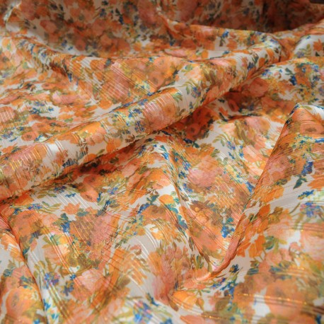 Au mètre voile satin polyester oranger lurex en 145cm n°10486