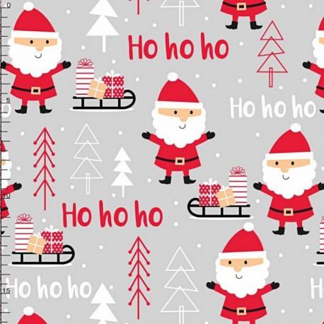Coton OEKO TEX Noël HOHOHO fond rouge en 160cm