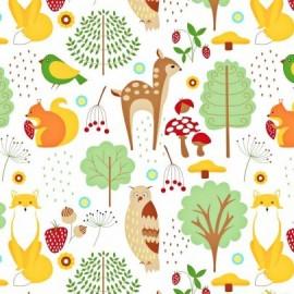 Coton OEKO TEX animaux forêt biche fond blanc en 160cm