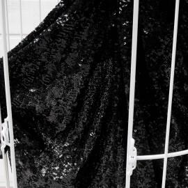 Au mètre tissu sequins noirs brillants stretch en 135cm n°10491