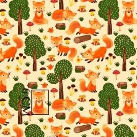 Coton OEKO TEX renard en forêt fond écru en 160cm