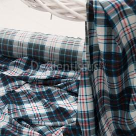 voile de Polyester imprimé Ecossais bleu en 150cm n°519