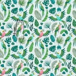 Coton OEKO TEX perroquet vert et rose en 160cm