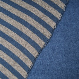 Tissu Sweat envers Minky rayé bleu jean et gris, réversible en 145cm n°10516